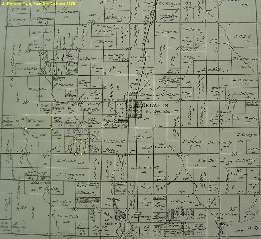 Oelwein Iowa Map.Ridler Surname Fayette Co Ia